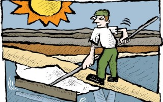 Illustration of a man harvesting salt dried in the sun