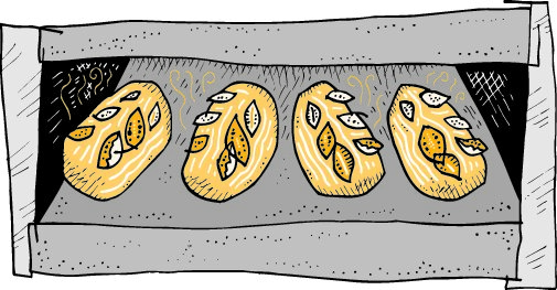 Illustration of bread baking in the oven